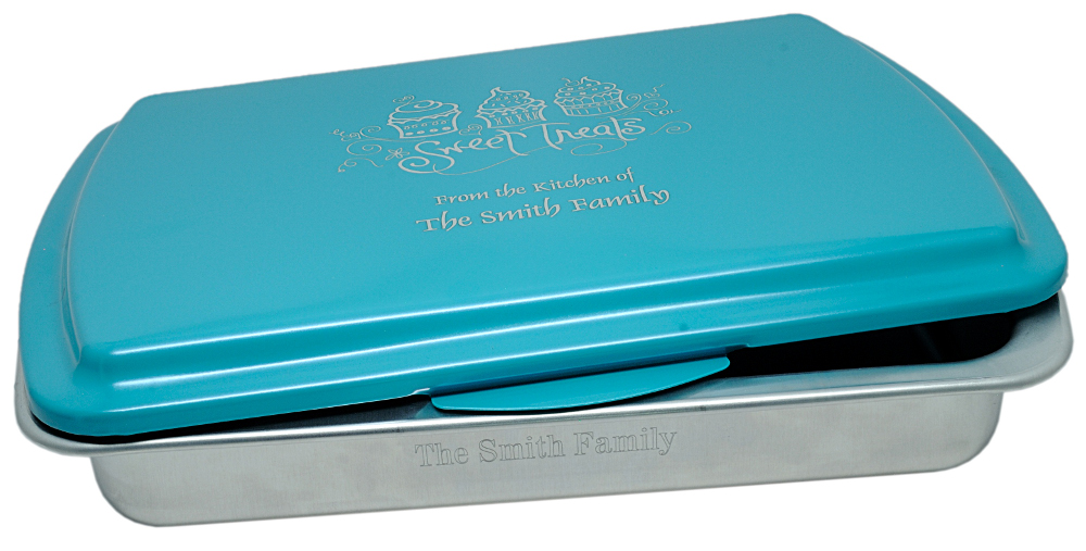 Personalized Cake Pan Turquoise Laser Engraved Lid